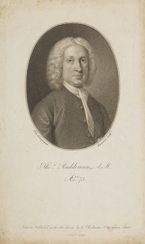 Thomas Ruddiman, 1674 - 1757. Philologist and publisher (Published 1793)