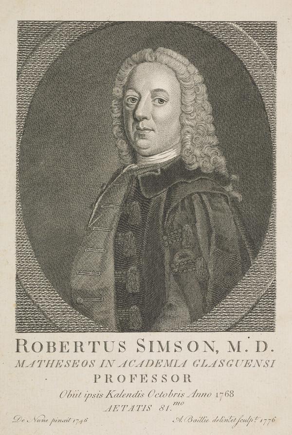 Robert Simson, 1687 - 1768. Professor at Glasgow University