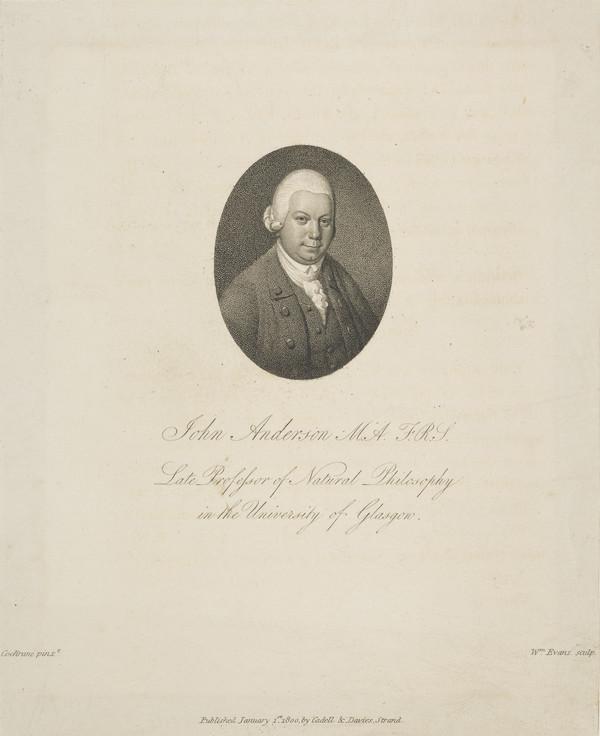 Professor John Anderson, 1726 - 1796. Professor of Oriental Languages and Professor of Natural Philosophy, Glasgow University