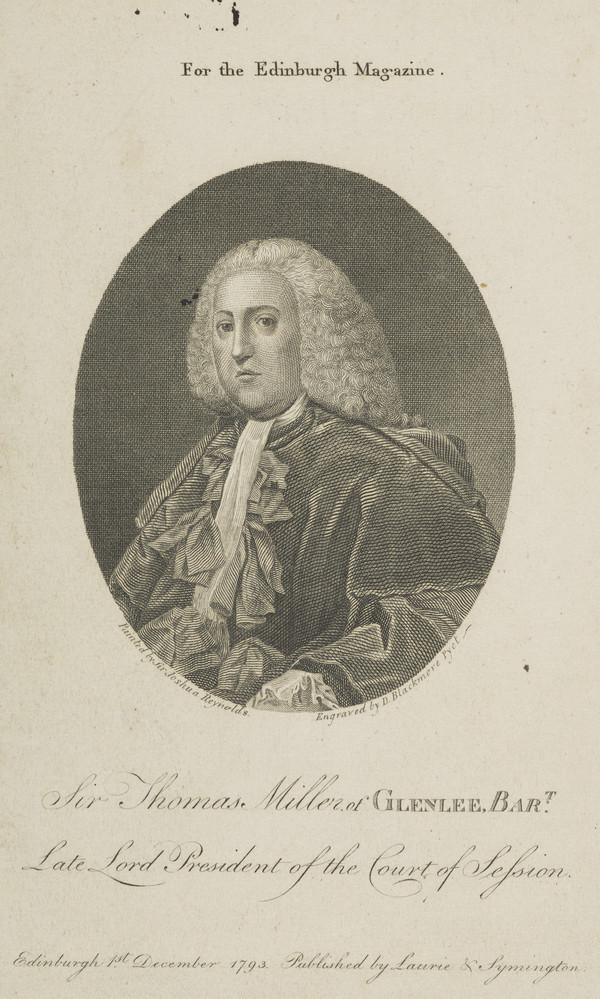 Sir Thomas Miller, Lord Glenlee, 1717 - 1789. Lord President of the Court of Session (Published 1793)