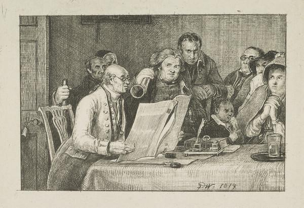 Reading the Will (Dated (on front of the table) 1819)