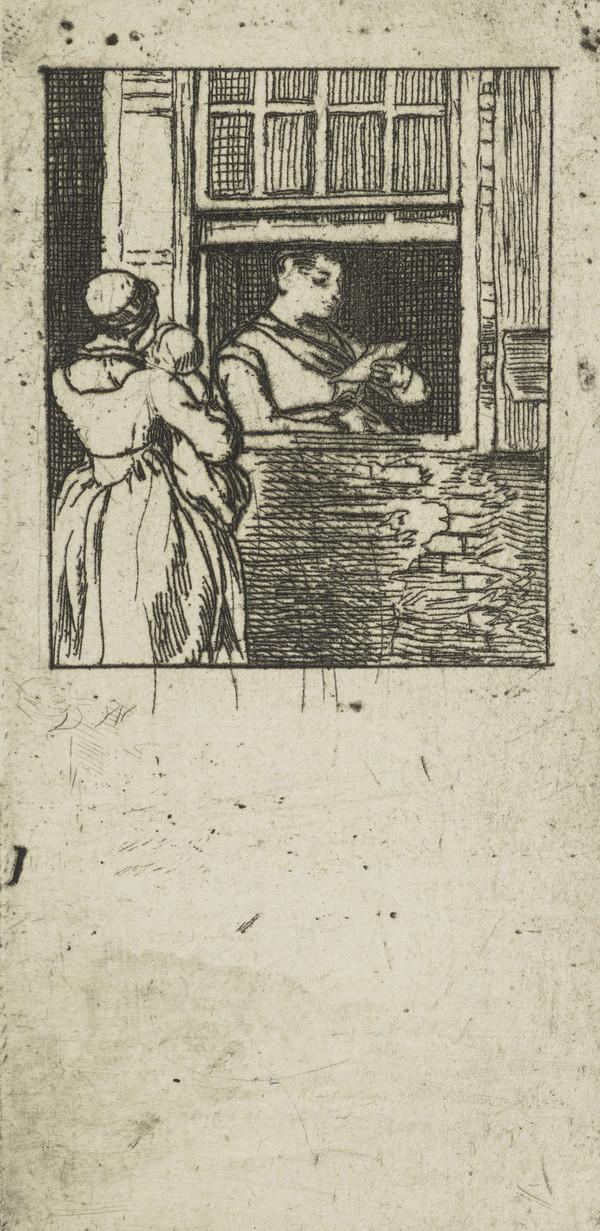 Woman at a Window, Reading a Letter (Visiting Card)