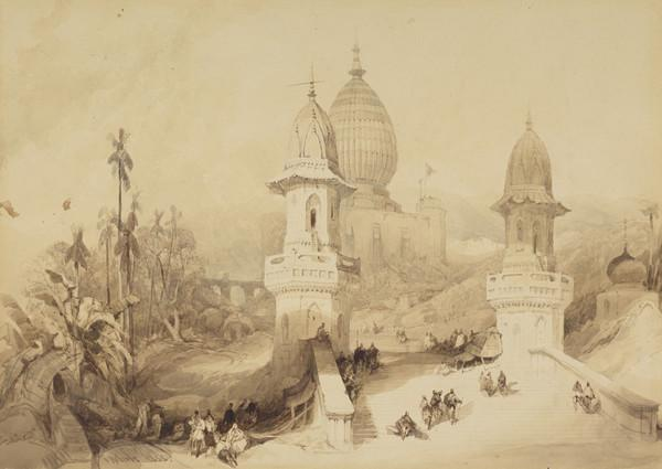Ghat and Temple at Gokul (1838)