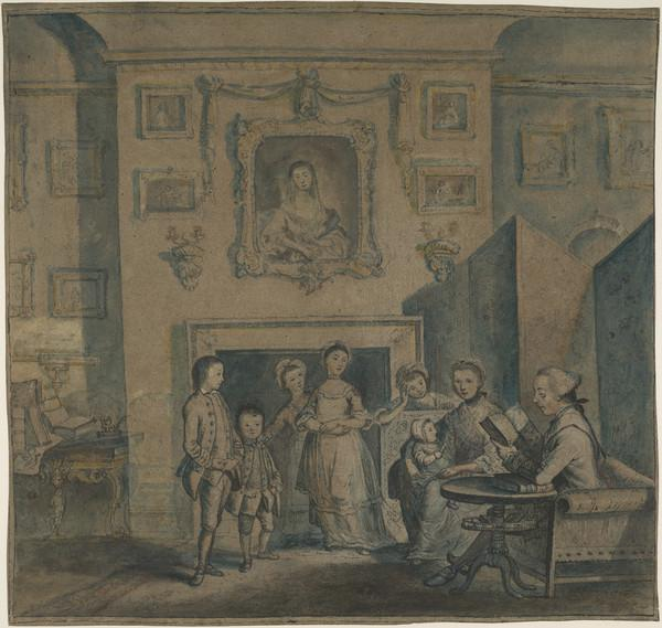 Charles Schaw, 9th Baron Cathcart, 1721 - 1776, his Wife, Jane Hamilton and their Children, Jane, William, Mary, Charles Allen, Louisa and... (Dated 1765)
