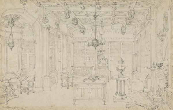 The Library at Abbotsford, the Home of Sir Walter Scott. Study for the Engraving to Lockhart's 'Memoirs of the Life of Sir Walter Scott' (Dated 1832)