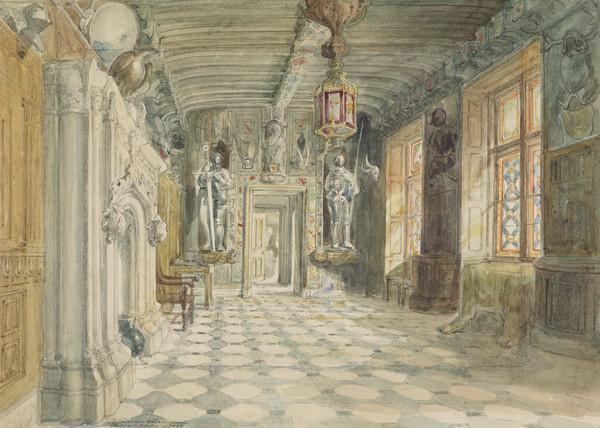 The Entrance Hall at Abbotsford, the Home of Sir Walter Scott. Study for the Engraving to Lockhart's 'Memoirs of the Life of Sir Walter Scott' (Dated 1832)