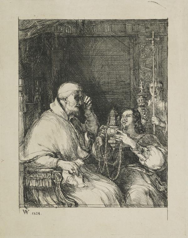 Benvenuto Cellini Offering his Censer for the Approval of Pope Paul III (Dated 1824)