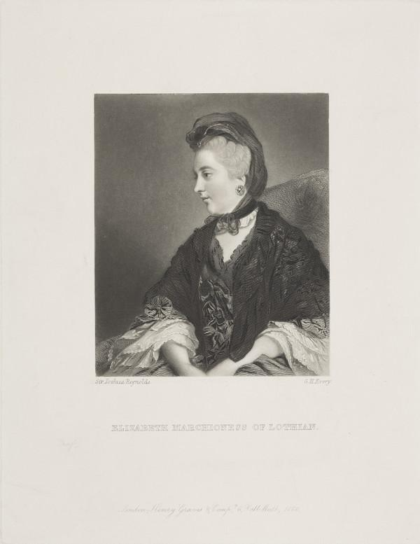 Elizabeth (Fortescue), Marchioness of Lothian, 1745 - 1780. Wife of William John Kerr, 5th Marquess of Lothian (Published 1866)