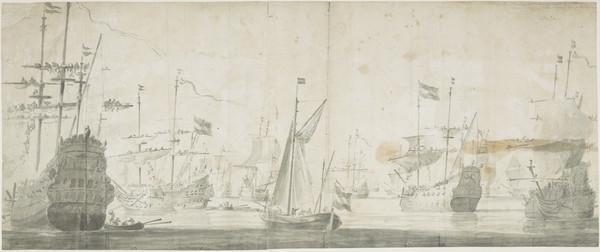 The Dutch Fleet Coast October Coming to Anchor Off Old Schagen on the Jutland Coast October 1658