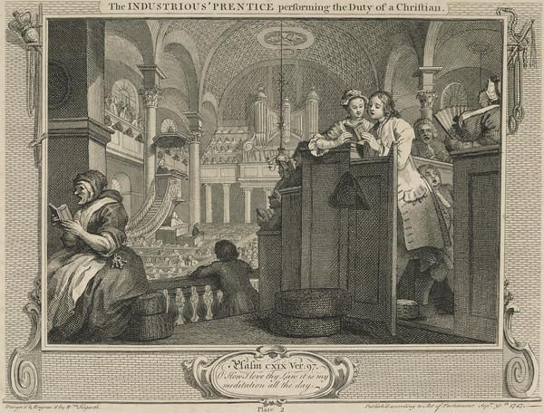 Industry and Idleness, Plate 2: The Industrious 'Prentice Performing the Duty of a Christian (1747)
