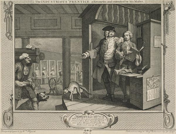 Industry and Idleness, Plate 4: The Industrious 'Prentice a Favourite and Entrusted by his Master (1747)