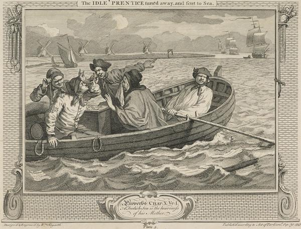 Industry and Idleness, Plate 5: The Idle 'Prentice Turn'd Away and Sent to Sea (1747)