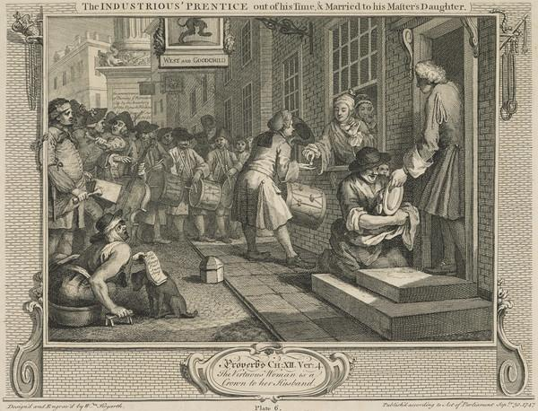 Industry and Idleness, Plate 6: The Industrious 'Prentice out of his Time and Married to his Master's Daughter (1747)