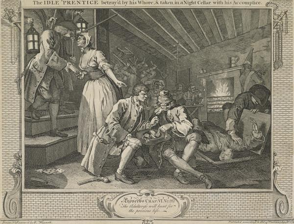 Industry and Idleness, Plate 9: The Idle 'Prentice Betrayed by his Whore and Taken in a Night Cellar with his Accomplice (1747)