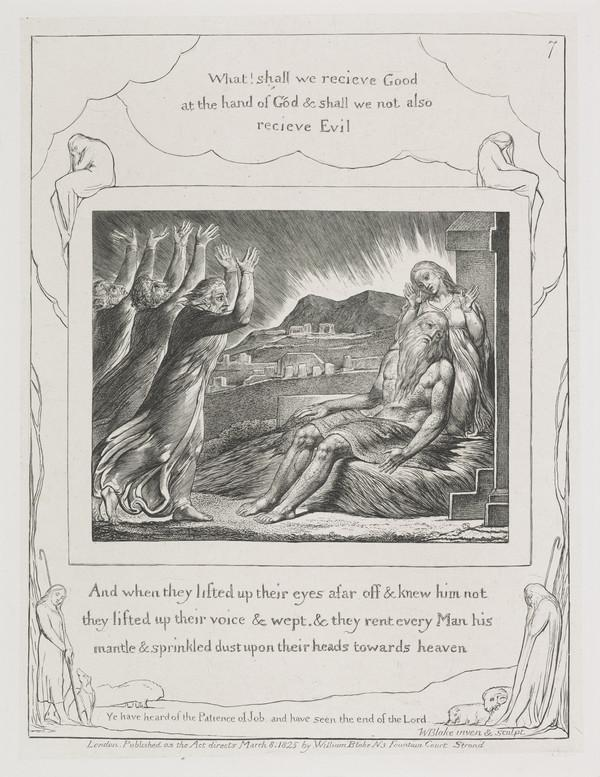 Illustration to 'The Book of Job': And When They Lifted Up Their Eyes (7) (1825)