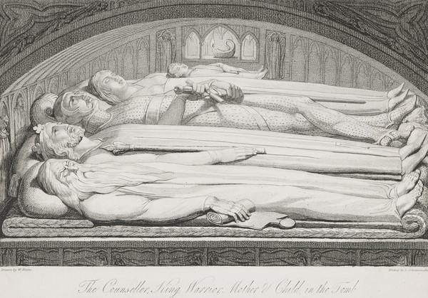 Illustration to Blair's 'The Grave': The Conseller, King, Warrior, Mother and Child in the Tomb (Published 1813)