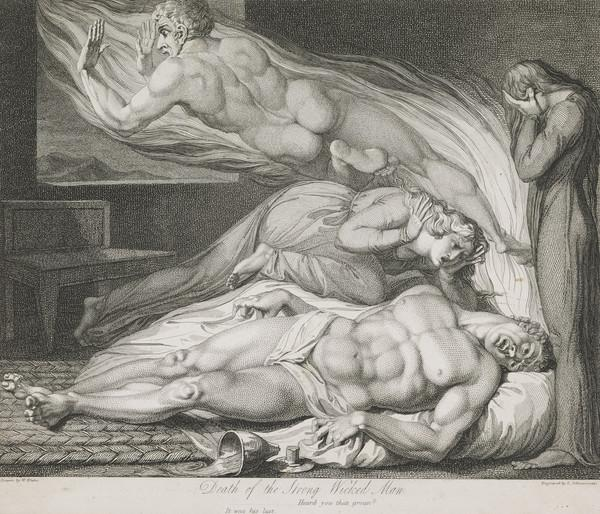 Illustration to Blair's 'The Grave': Death of the Strong Wicked Man (Published 1813)