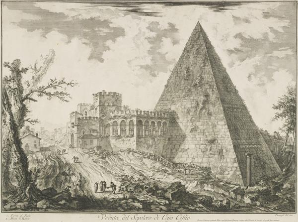 Vedute di Roma: View of the pyramidal Tomb of Cestius with Porta S. Paolo to left