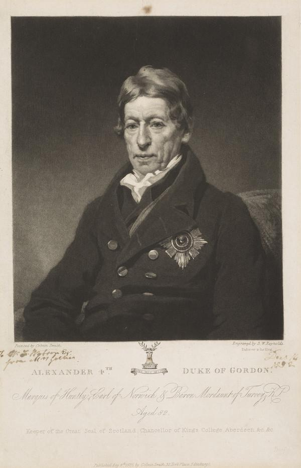 Alexander Gordon, 4th Duke of Gordon, 1743 - 1827. Keeper of the Gret Seal of Scotland (Published 1825)
