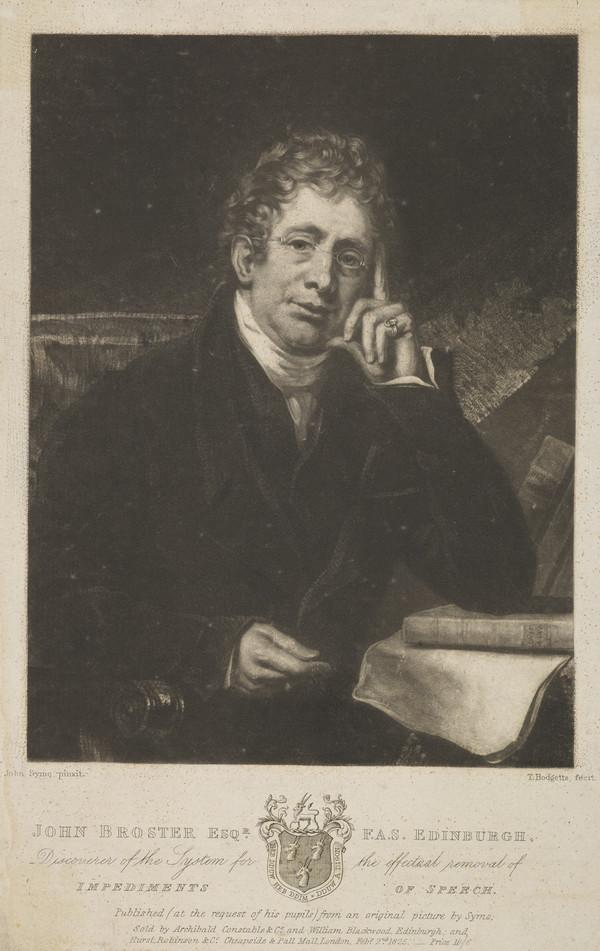 John Broster. Inventor of system for removal of impediment in speech (Published 1825)