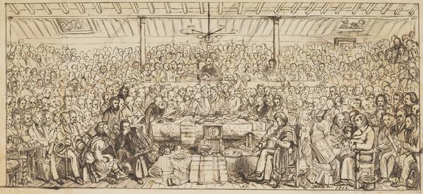 The Disruption of the Church of Scotland 1843 (Drawing for the engraved key to the painting in the collection of the Free Church) (1866)
