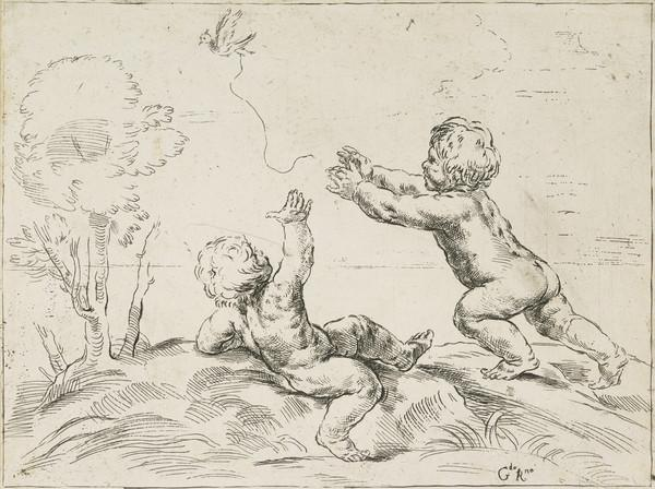 Two naked children trying to catch the string of a bird that is flying away