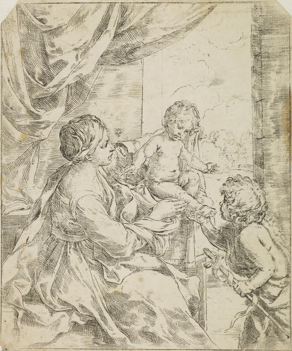 Madonna and Child at a table with the young St John the Baptist