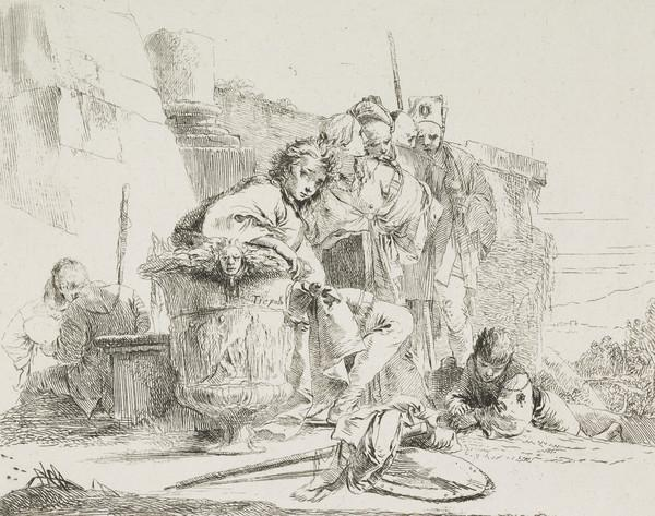 Vari Capricci: Plate 1, Young man seated, leaning on an urn