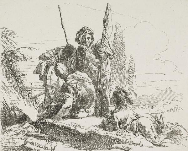 Vari Capricci: Plate 2, Three soldiers and a child