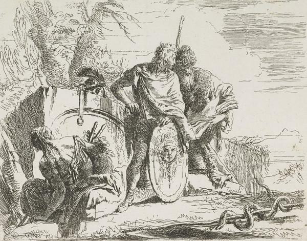 Vari Capricci: Plate 9, Young soldier with philosopher and seated woman