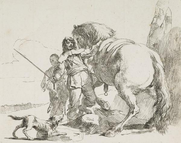 Vari Capricci: Plate 10, Soldier with horse and attendant