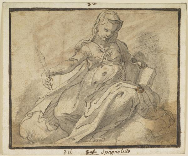 A Female Figure with a Book (and Pen ?)