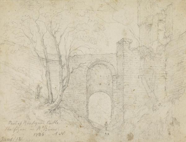 Robert Burns, 1759 - 1796. Poet. (With Alexander Nasmyth, 1758 - 1840. Artist. At Rosslyn Castle) (1786)