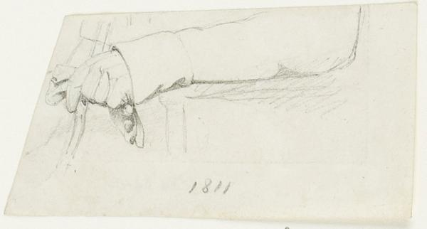 Study of the Left Arm of Mr George Townshend Brooke, d. 1845, holding a Glove (1807 - 1835)