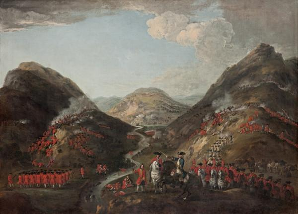 The Battle of Glenshiel 1719. Figures probably include Lord George Murray, c 1700 - 1760; Rob Roy MacGregor, 1671 - 1734; and General Joseph... (1719)