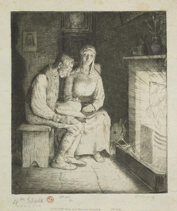 Man and Woman Reading: Illustration to 'The Earth Fiend' (Strang No. 213) (1891)