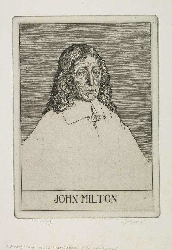 Frontispiece. Portrait of John Milton (1608 - 1674): Illustration to 'Paradise Lost' (Strang No. 345) (1895)