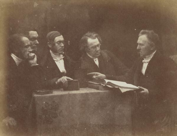 Dunfermline Presbytery. Perhaps Rev. John Robertson, two unknown men, Rev. William Gilston and Rev. Thomas Doig [Presbytery Group 10] (1843 - 1847)