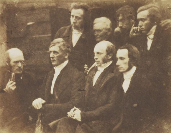 Arbroath Presbytery. Perhaps Rev. Dr William Wilson, Rev. John Kirk seated, Rev. Thomas Dymock  standing, man called 'Lord Provost Austin... (1843 - 1847)