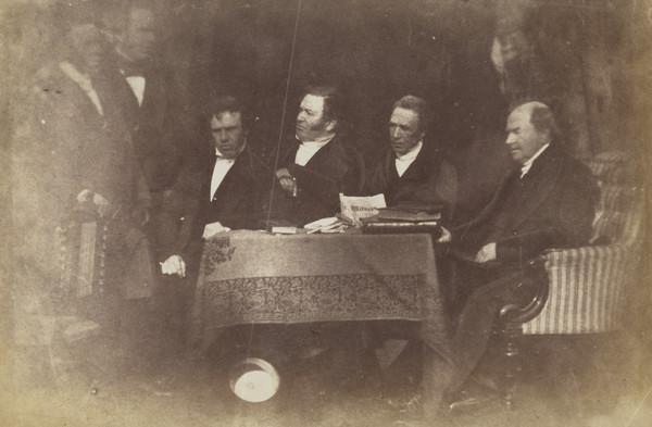 Aberdeen Presbytery. Rev. Dr Alexander Spence, unknown man, Rev. Dr Alexander Dyce Davidson, Rev. Dr James Bryce, Professor Alexander Black and... (1843 - 1847)