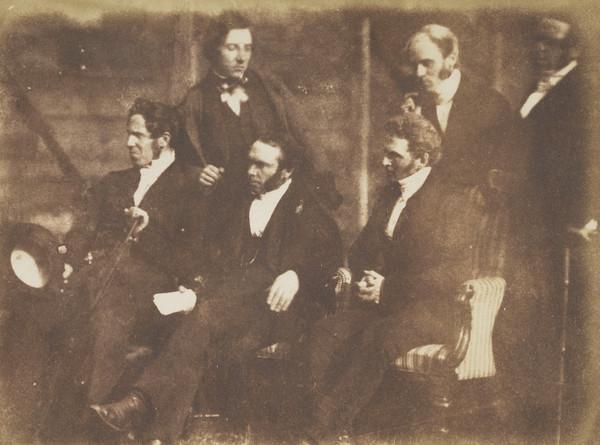 Auchterarder Presbytery. Rev. Andrew Noble, Rev. James Carment, Rev. John Ferguson, Rev. James Thomson and two unknown men standing [Presbytery... (1843 - 1847)