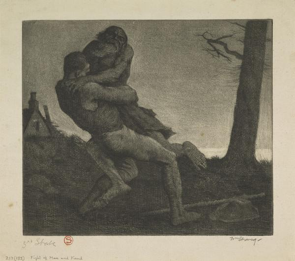 Fight of Man and Fiend: Illustration to 'The Earth Fiend' (Strang No. 217) (1891)