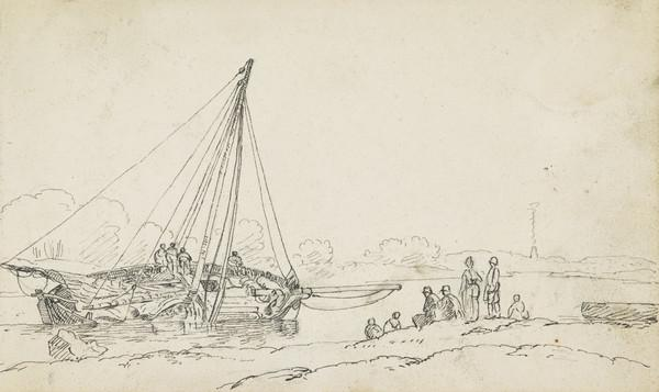 Sinking Ship on the Clyde [Verso: Sketch of Sailing Ship and Rigging]