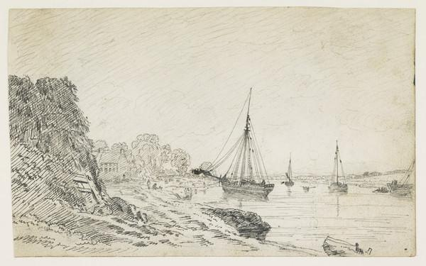 A View of the Clyde at Govan Ferry [Verso: Three Figure Studies]