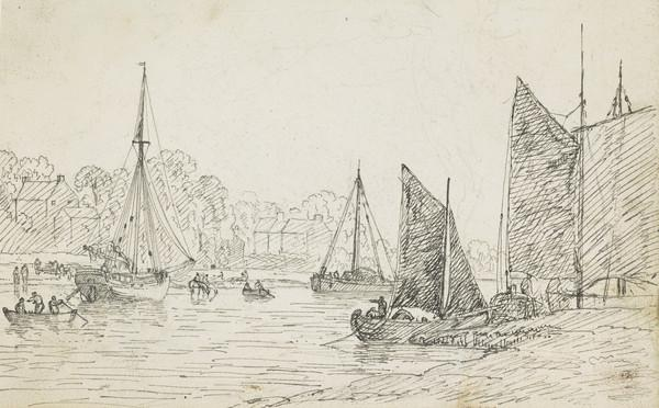 A View of the Clyde at Govan Ferry [Verso: Sketches of Women and Children]