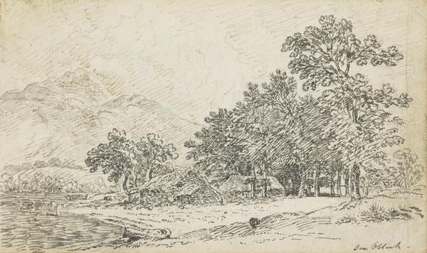 Crofts Beside a Highland Loch [Verso: Compositional Sketch of an Eastern European Townscape]
