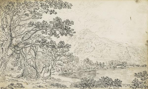 Highland Landscape with Loch [Verso: Three Compositional Sketches for Landscapes]