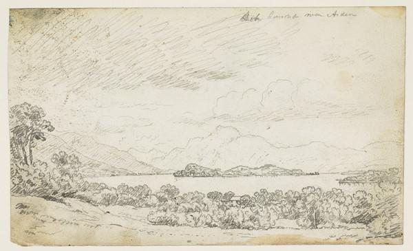 View of Loch Lomond near Arden [Verso: Three Compositional Sketches of Landscapes