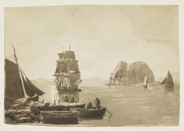 Dumbarton Rock with Shipping, from Langbank