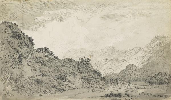 Sun on a Mountain Landscape [Verso: Slight Sketches]